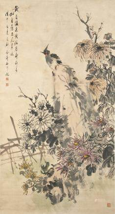 CHINESE SCROLL PAINTING BY JIN SHOUSHI, PROVENANCE FROM SOTHEBY'S