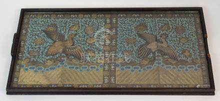 A PAIR OF CHINESE SILK MANDARIN RANK BADGES with a golden pheasant surrounded by precious objects on