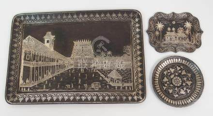 A BIDRI WORK TRAY decorated with a palace, 21cm x 30.5cm, a tray with a bungalow within scrolling