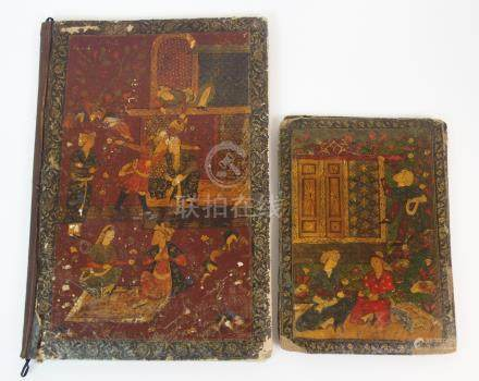AN INDIAN PAINTED PAPIER MACHE INK BLOTTER with court scenes, 38cm x 26cm and another 25cm x 18cm (