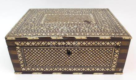 AN ANGLO INDIAN HARDWOOD AND BONE INLAID BOX with fitted interior, the hinged cover and sides inlaid