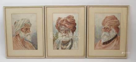 M.A. AZEEZ three portrait heads of elderly Sikh bearded gentlemen, signed watercolours, dated