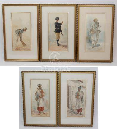 M.A. AZEEZ five portraits of musicians, street vendor, worker and policemen, signed watercolours,
