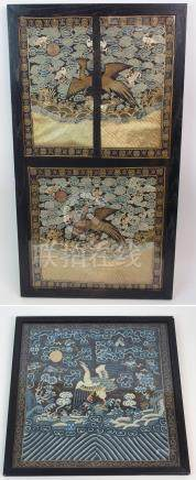 TWO CHINESE SILK AND METAL THREAD RANK BADGES woven with a golden pheasant amongst cloud scrolls