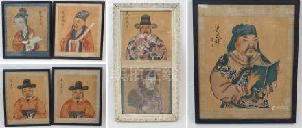 SEVEN CHINESE PORTRAITS OF COURTIERS signed watercolours on silk, 20cm x 17cm, 19cm x 18cm and