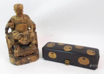 A JAPANESE MEIJI BLACK AND GOLD LACQUERED RECTANGULAR BOX decorated with floral mon with two ring