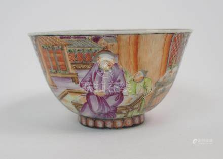 A CHINESE FAMILLE ROSE TEA BOWL finely painted with a mandarin and consort on a terrace divided by