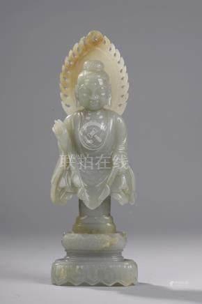 Buste de Buddha Sakyamuni au visage quadrangulaire et pommet