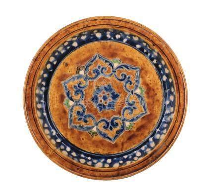 Plat à offrande Sançaï tripode à décors d'une rosace central