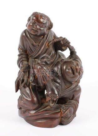 HEHE ERXIAN, Bambus, fein geschnitzte Darstellung der beiden Geschwister, H 19, rissig und besch.,