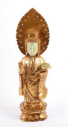 GUANYIN, Jadeit, vergoldet, Gesicht und Zepterkopf frei, H 34, min.besch., CHINA