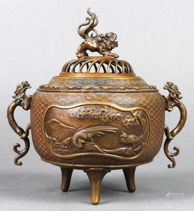 Japanese bronze censer, the openwork lid with a Karajishi (fu-lion) finial, bulbous body with dragon