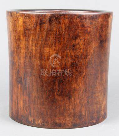 Chinese huanghuali brush pot, with thick walls slightly tapering toward the smaller base, well set