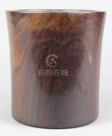 Chinese zitan brush pot, of cylindrical form flaring toward the wider mouth, the well centered