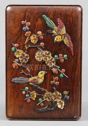 Chinese overlaid wooden rectangular covered box, the lid with a pair of birds amid flowering