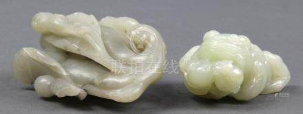 (lot of 2) Chinese jade/hardstone toggles: first, in the form of a chanchu (toad) with a branch of