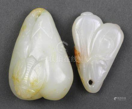 (lot of 2) Chinese jade toggles: one featuring two squashes; the other of eggplants accented by an