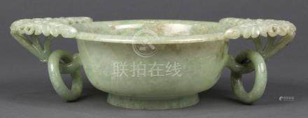 Chinese jadeite bowl, the shallow vessel with everted rim flanked by floral form handles