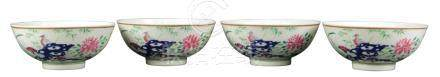 (lot of 4) Set of Chinese famille rose porcelain bowls, 19th century, each brightly enameled with