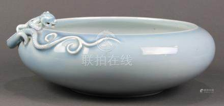 Chinese monochrome blue porcelain brush washer, compressed body with a meandering chilong in