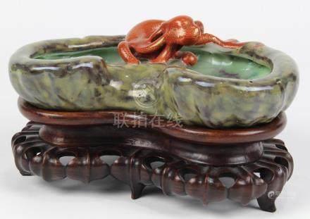 Chinese porcelain brush washer, of ruyi head form surmounted with a gilt orange chilong, interior