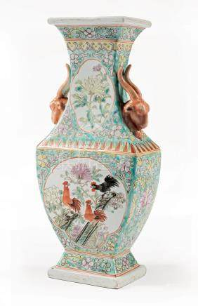 Chinese Famille Rose Porcelain Faceted Vase