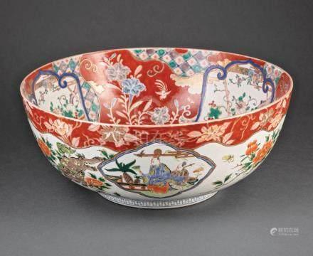 Japanese Imari Porcelain Punch Bowl