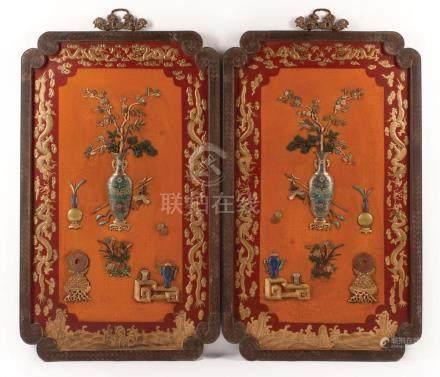 Chinese Enamel, Embellished, Lacquered Panels
