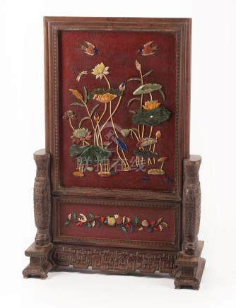 Chinese Embellished Red Lacquer Table Screen