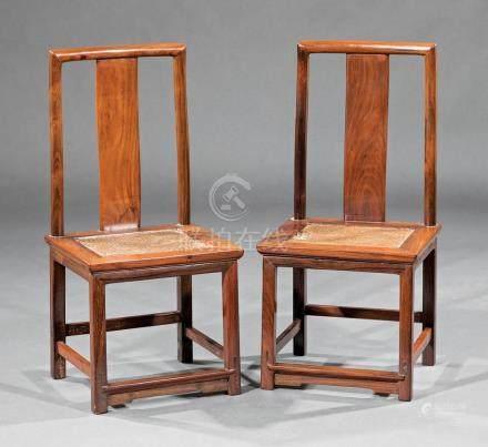 Pair of Chinese Hardwood Child's Chairs