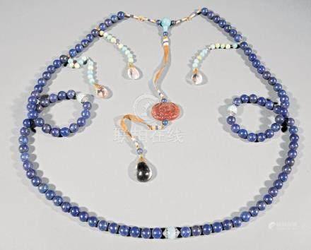 Chinese Lapis Lazuli, Crystal, Hardstone Necklace