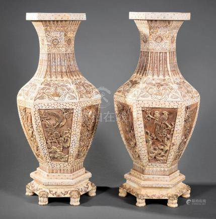 Chinese Tessellated Bone Baluster Vases & Stands