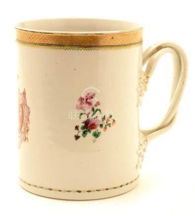 A Chinese Export armorial porcelain mug.