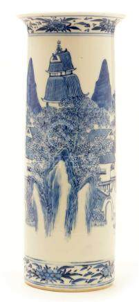 A late 19th Century Chinese blue and white porcelain sleeve vase.