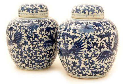 A pair of late 19th Century Chinese blue and white porcelain ginger jars and covers.