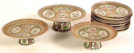 A late 19th Century Cantonese Famille Rose dessert service.