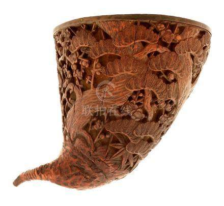 A 19th Century Chinese carved boxwood libation cup.