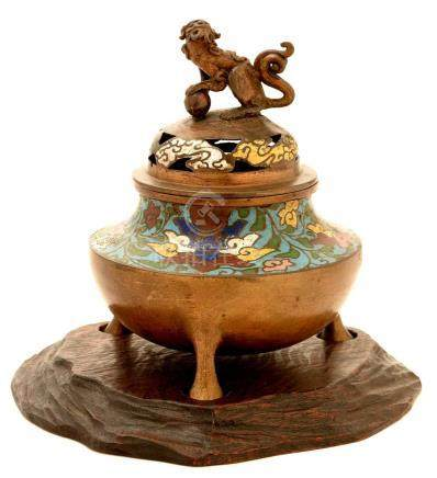 A late 19th Century Chinese bronze and champleve enamel censer and cover.