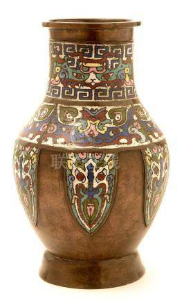 A late 19th Century Chinese bronze and champleve enamel vase.