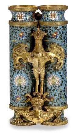 "A Chinese cloisonne, enamel and gilt bronze ""Champion"" vase."
