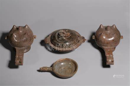 FIVE CHINESE JADE LIDDED CENSERS