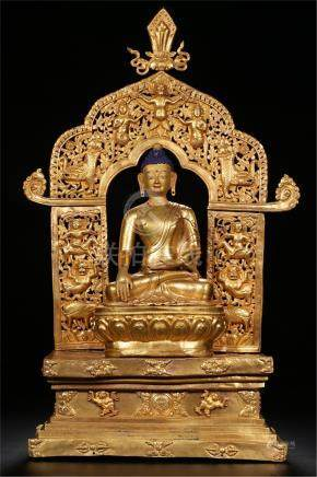 CHINESE GILT BRONZE SEATED SAYKAMUNI IN NICHE