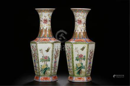 PAIR OF CHINESE PORCELAIN FAMILLE ROSE BIRD AND FLOWER HAXAGONAL VASES