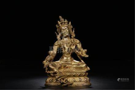 TIBETAN GILT BRONZE SEATED TARA