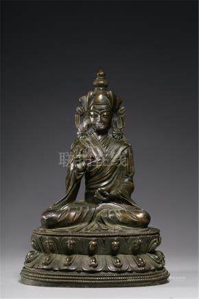 TIBETAN GILT BRONZE SEATED PADMASAMBHAVA