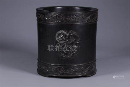 CHINESE HARDWOOD ZITAN BRUSH POT