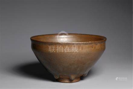 CHINESE PORCELAIN JI WARE BROWN GLAZE TEA BOWL