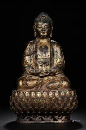 CHINESE GILT BRONZE SEATED SAYKAMUNI ON LOTUS BASE
