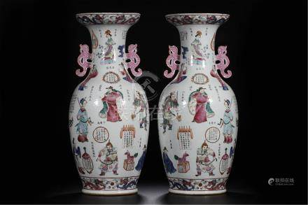 PAIR OF LARGE CHINESE PORCELAIN FAMILLE ROSE WUSHUANGPU FIGURES VASES