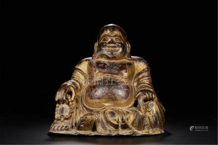 CHINESE GILT BRONZE SEATED LAUGHING BUDDHA
